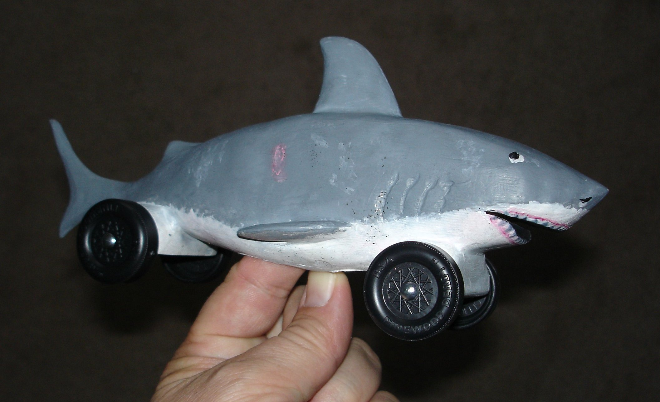 Pine car derby shark designs pictures to pin on pinterest for Pinewood derby shark template